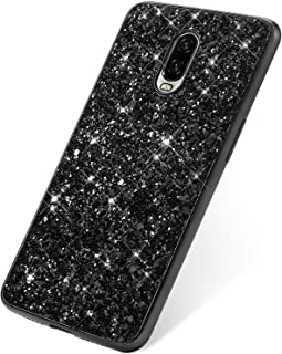 SainCat Cover Compatibile con OnePlus 6T Custodia Ultra Slim Morbido Silicone TPU Bling Glitter Antiurto Rigida Cover-Argento