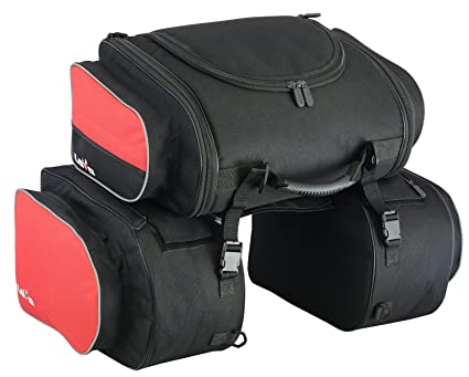LOVO Alforjas laterales con bolsa trasera para moto ...