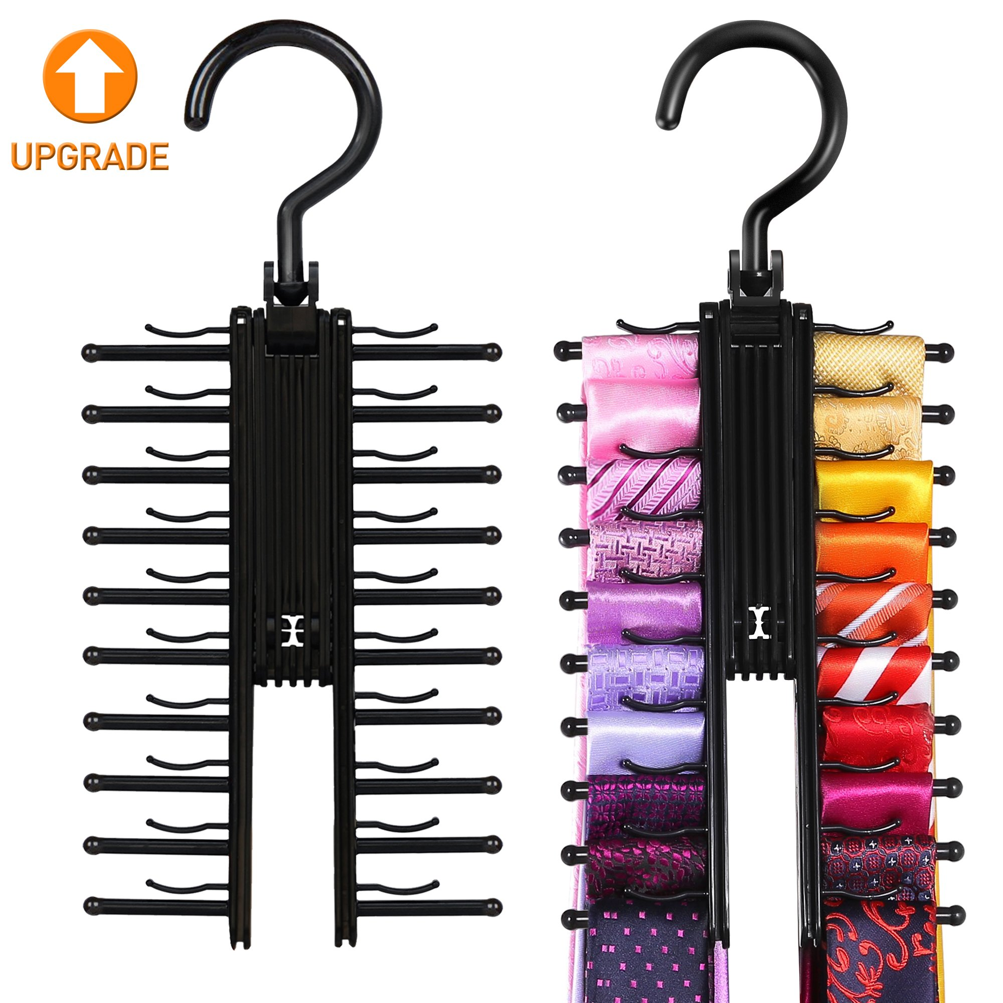IPOW 2 PCS Upgraded Cross X Hangers, Black Tie Belt Rack Organizer Hanger  Non Slip Clips Holder With 360 Degree Rotation,Securely Up To 20 Ties