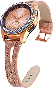 Greaciary Glitter Strap Compatible with Galaxy Watch 42mm Bands/Active 40mm Band Women 20mm Narrow Fashion Sparkle Wristband for Samsung Galaxy Watch 42mm R810/Galaxy Watch Active R500 (Rose Gold)