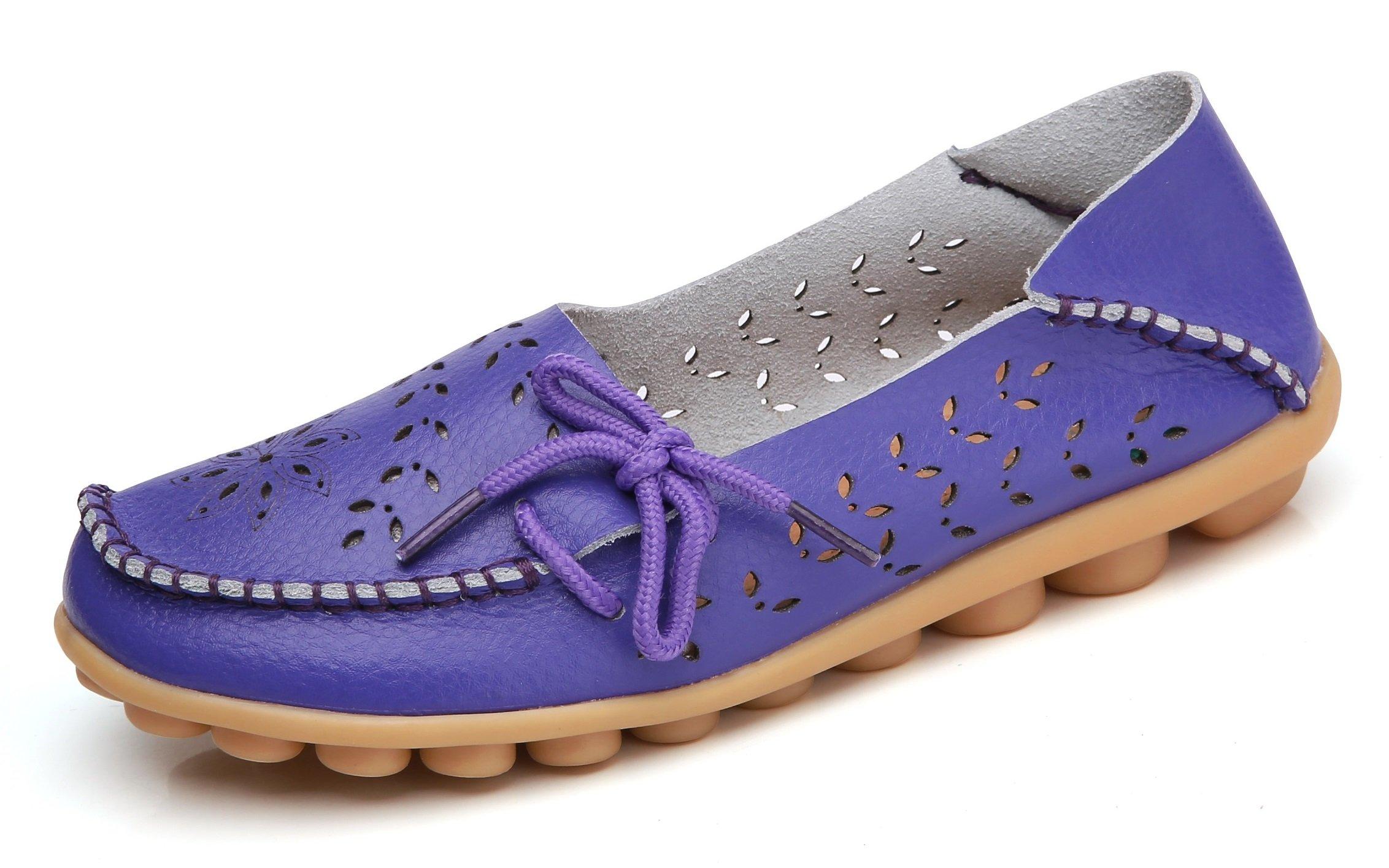 VenusCelia Women's Breathable Comfort Walking Flat Loafer(6 B(M) US,Purple)
