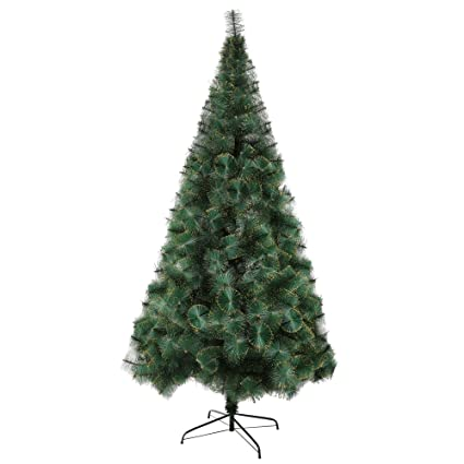 luckyermore 8 ft modern christmas tree 460 tips full pet branches with golden glitter metal - Modern Christmas Tree Decorations