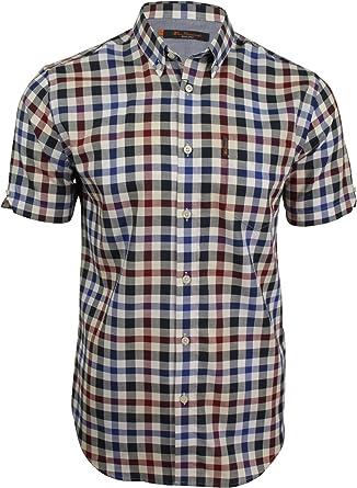Ben Sherman - Camisa de Cuadros con Textura de Manga Corta para Hombre