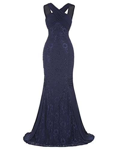 Kate Kasin Halter V-Back Mermaid Ball Gown Lace Evening Prom Party Dress KK118