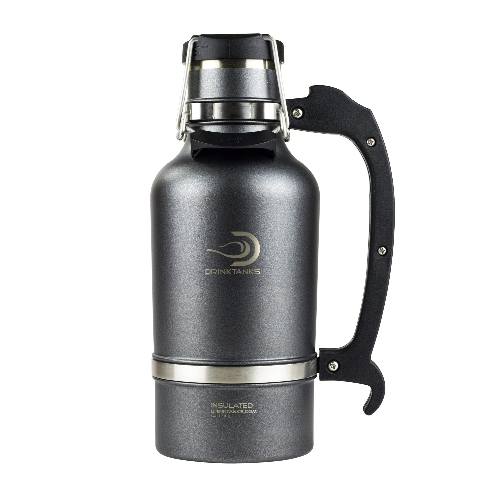 DrinkTanks Vacuum Insulated Stainless Steel Beer Growler, 64 oz. (Renewed)
