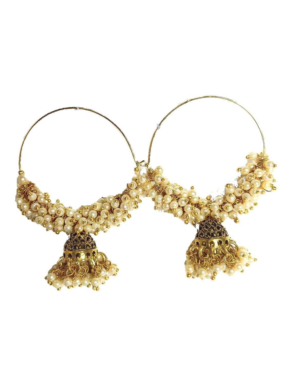 HFW pearl white golden hoop earrings size big