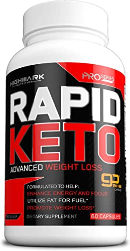 Rapid Keto Diet Pills Advanced Ketogenic Diet Weight Loss Supplement BHB Salts Exogenous Ketones Capsules for Men Women Fast Effective Ketosis Diet Fat Burner Instant Keto Boost 60