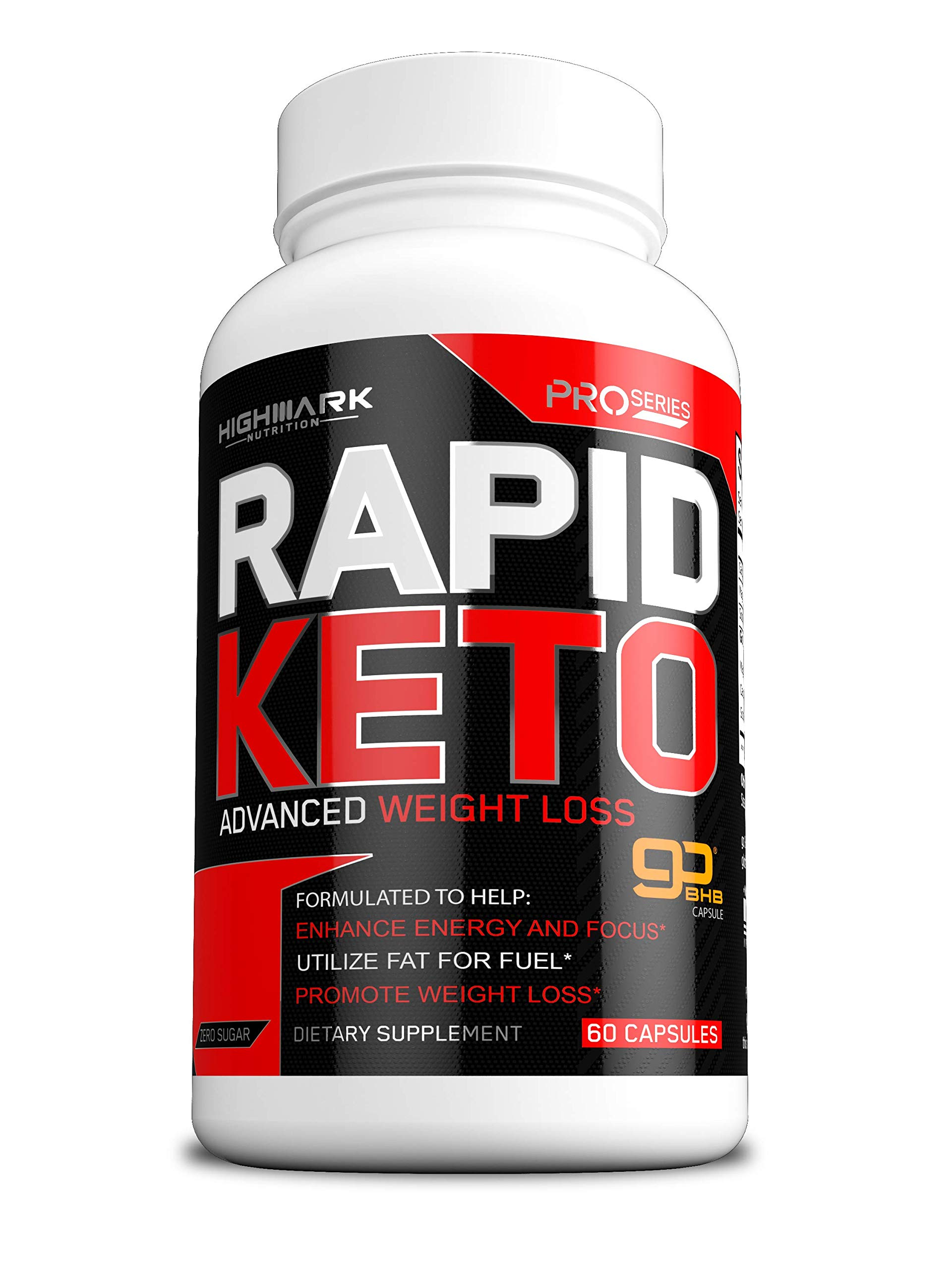 Rapid Keto Diet Pills | Advanced Ketogenic Diet Weight Loss Supplement | BHB Salts Exogenous Ketones Capsules for Men & Women | Fast & Effective Ketosis Diet Fat Burner | Promote Energy & Focus | 60 by HighMark Nutrition