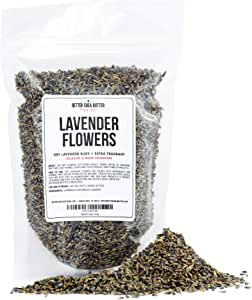 French Dry Lavender Flower Buds for Tea, Baking, Crafts, Sachets, Baths, Yoni Steams, Oil Infusions, Tinctures - 4oz in Resealable, Recyclable Pouch - by Better Shea Butter