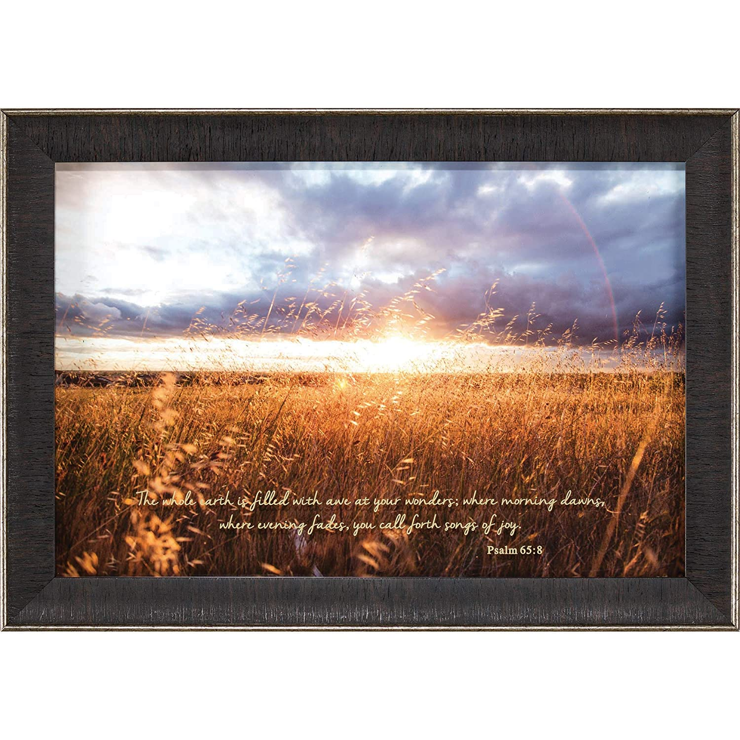 Dicksons Earth Filled with Awe Psalm 65:8 Sunrise Field 14 x 20 Wood Framed Wall Art