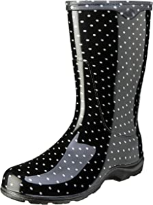 Sloggers Women's Waterproof Rain and Garden Boot with Comfort Insole, Black/White Polka Dot, Size 10, Style 5013BP10