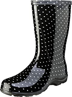 product image for Sloggers Women's Waterproof Rain and Garden Boot with Comfort Insole, Black/White Polka Dot, Size 10, Style 5013BP10