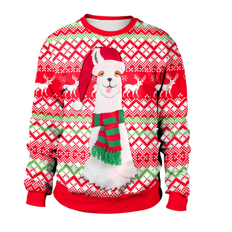Braderie matériau sélectionné super promotions Sweat-Shirt Noel Femme Pull Noel Femme Rouge Imprimé Créatif ...