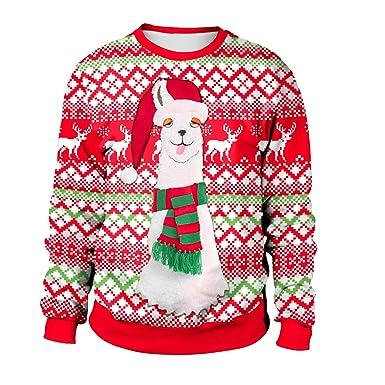 Oversize Shirt Sweat Femme Manche Créatif Avec Cerf Renne Longue Rond Drole Moche Pull Rouge Noel Imprimé Y7gyb6vIf