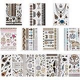 Rovtop 14 Sheets Metallic Temporary Tattoos, 200 Shimmer Designs (Gold, Silver, Black)