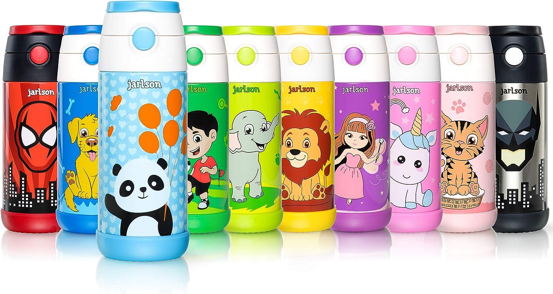 Jarlson Botella Agua sin bpa niños | Botellas Agua Acero Inoxidable - termica | a Prueba de Fugas | para la Escuela y Deportes | el Termo | 350 ml