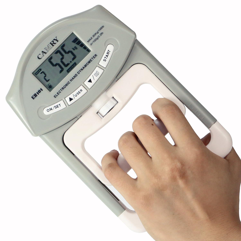 Camry electrónica dinamómetro la fuerza de agarre de la mano del medidor 90 kg / 200 lbs Margen de capacidad EH101