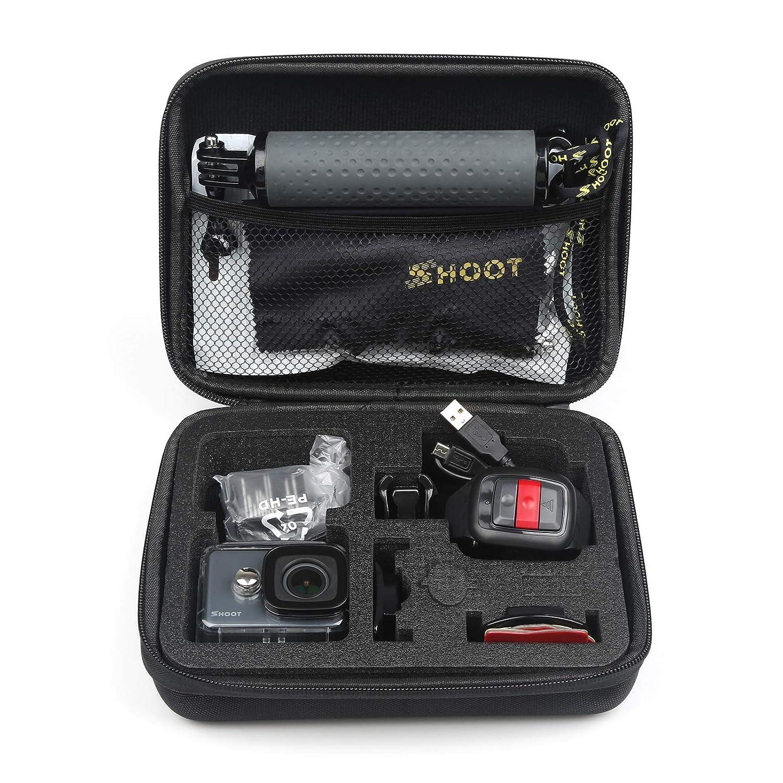SHOOT EVA Estuche de Transporte para GoPro Hero 7// 2018 //6//5//4//3 GoPro Fusion//GoPro Session//SJCAM SJ4000 5000 6000 YI CAM APEMAN WiMiUS Rollei QUMOX y Accesorios,Negro,16 x 12 x 6.5cm