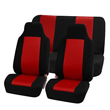 FH FB102112 Classic Cloth Car Seat Covers Red Black Color