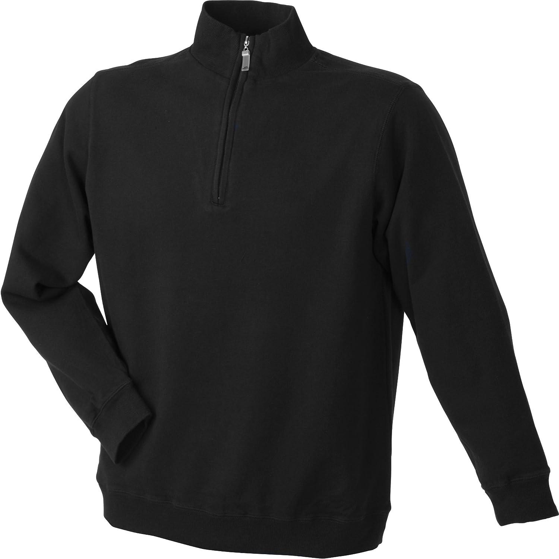 James /& Nicholson Round Neck Zip  Herren Sweatshirt Pullover JN352
