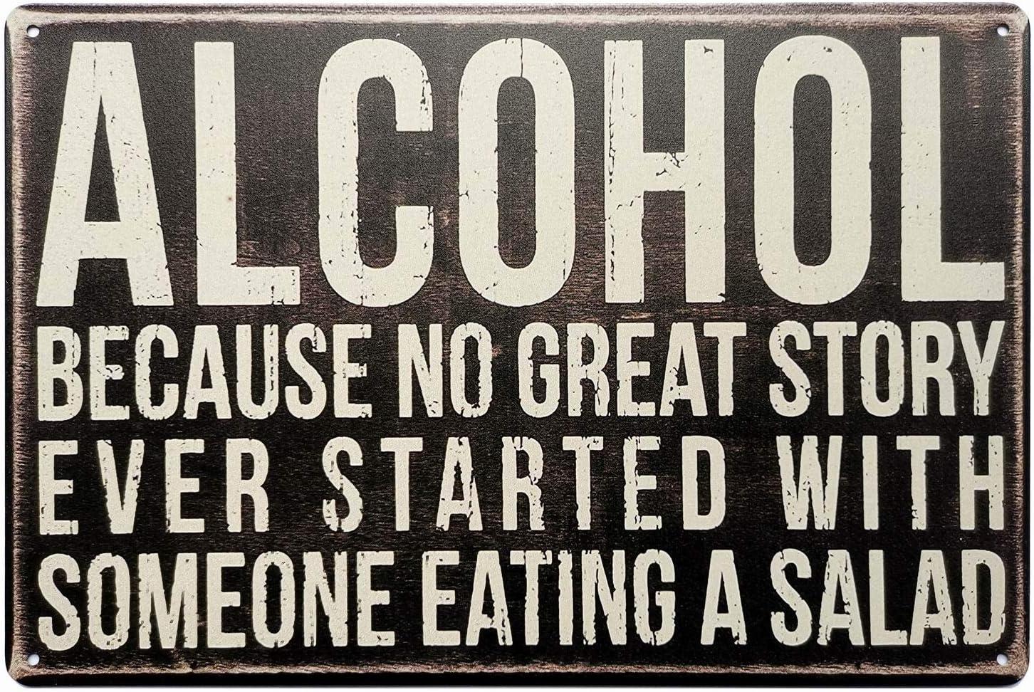 ERLOOD Alcohol Tin Signs Unique Metal Bar Wall Plaque Decor Vintage Kitchen Tin Sign 12 X 8