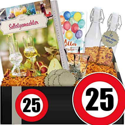 Zahl 25 Geschenkset Likor Diy 25 Geburtstag Geschenke Manner