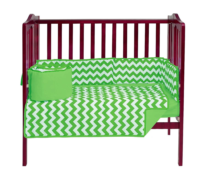 Baby Doll Bedding Chevron Mini Crib/ Port-a-Crib Bedding Set, Green by BabyDoll Bedding   B016ZP635O