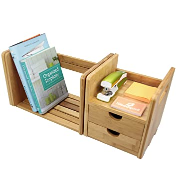 Organizador de papelería para escritorio bambú con 2 cajones ...