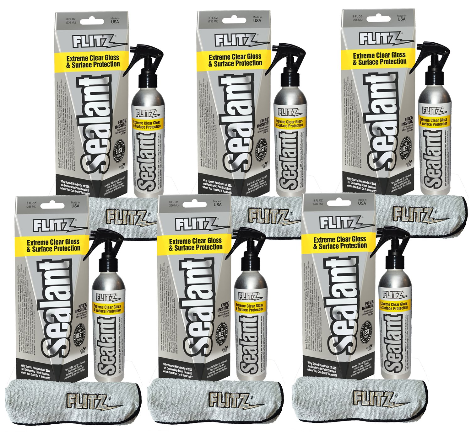 Flitz Hydrophobic Spray Sealant and Paint Protectant: Shine, Protect + Seal Clear Coat, Plastic, Glass and More, 1 Application Lasts 8 Months, Microfiber Cleaning Cloth Included USA Made 8 oz. 6 Pack