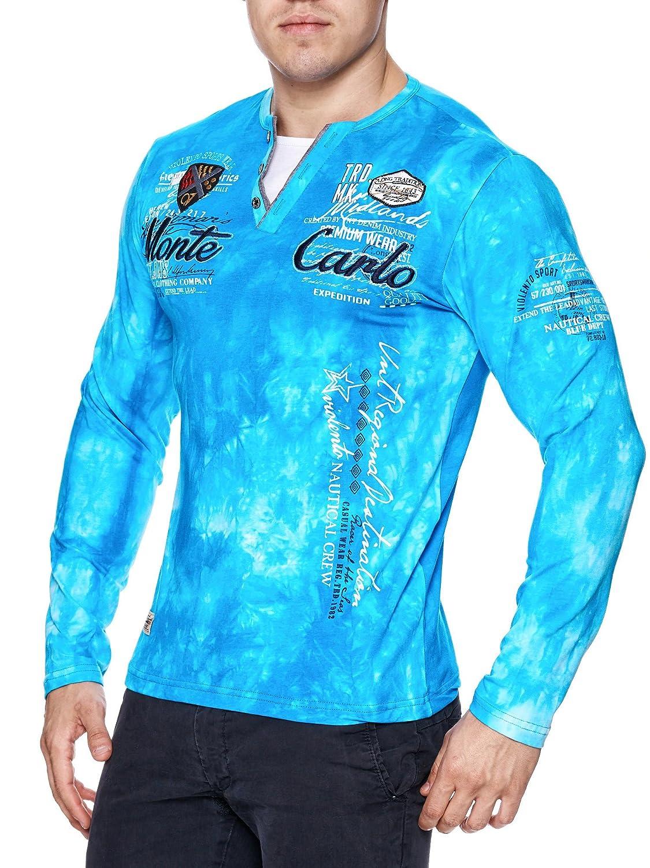 Herren Washed Polo Monte Carlo langarm Shirt Clubwear T-Shirt V-Neck  longsleeve: Amazon.de: Bekleidung