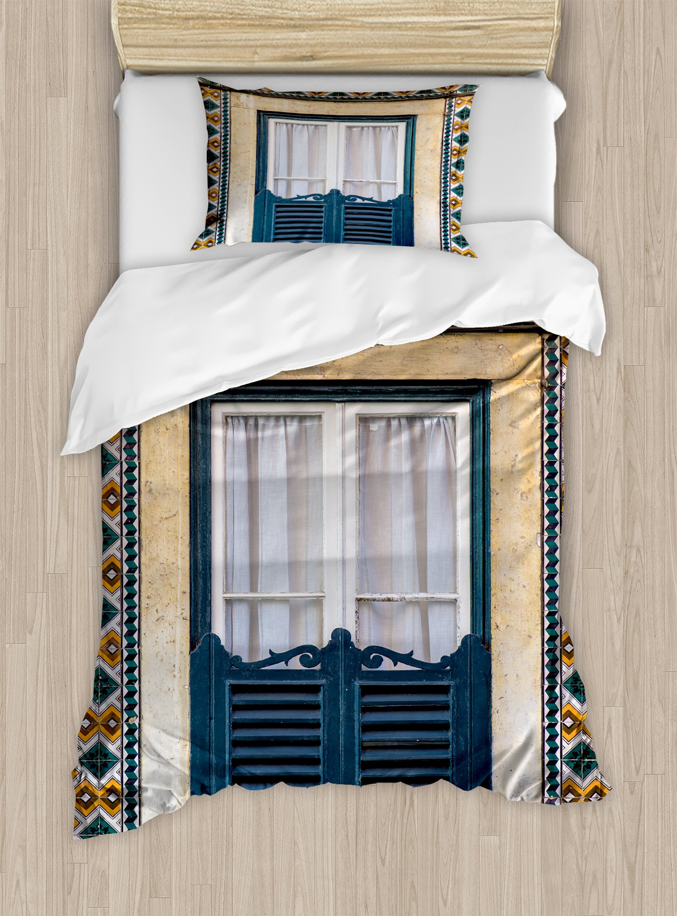 Ambesonne Shutters Duvet Cover Set Twin Size, Window of Old Architecture in Lisbon Portugal Touristic Town Cultural Nostalgic, Decorative 2 Piece Bedding Set with 1 Pillow Sham, Teal Orange