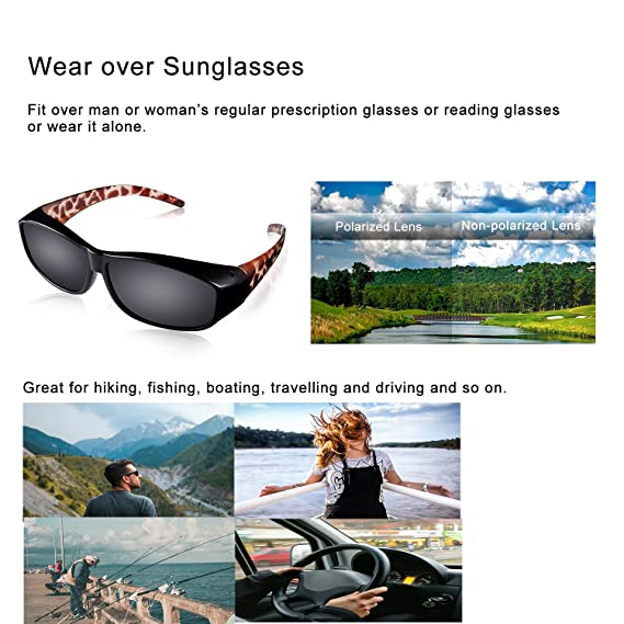 28585c8fc4 Amazon.com  Br Guras Polarized Over Glasses Solar Shield Sunglasses with  Leopard frame for Woman (Leopard(Amber)