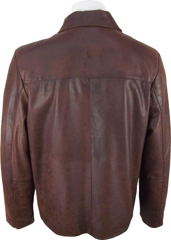 UNICORN Männer Lässig Auto Mantel Echte Leder Jacke Braun Gebürstetem  Wirkung #EQ: Amazon.de: Bekleidung