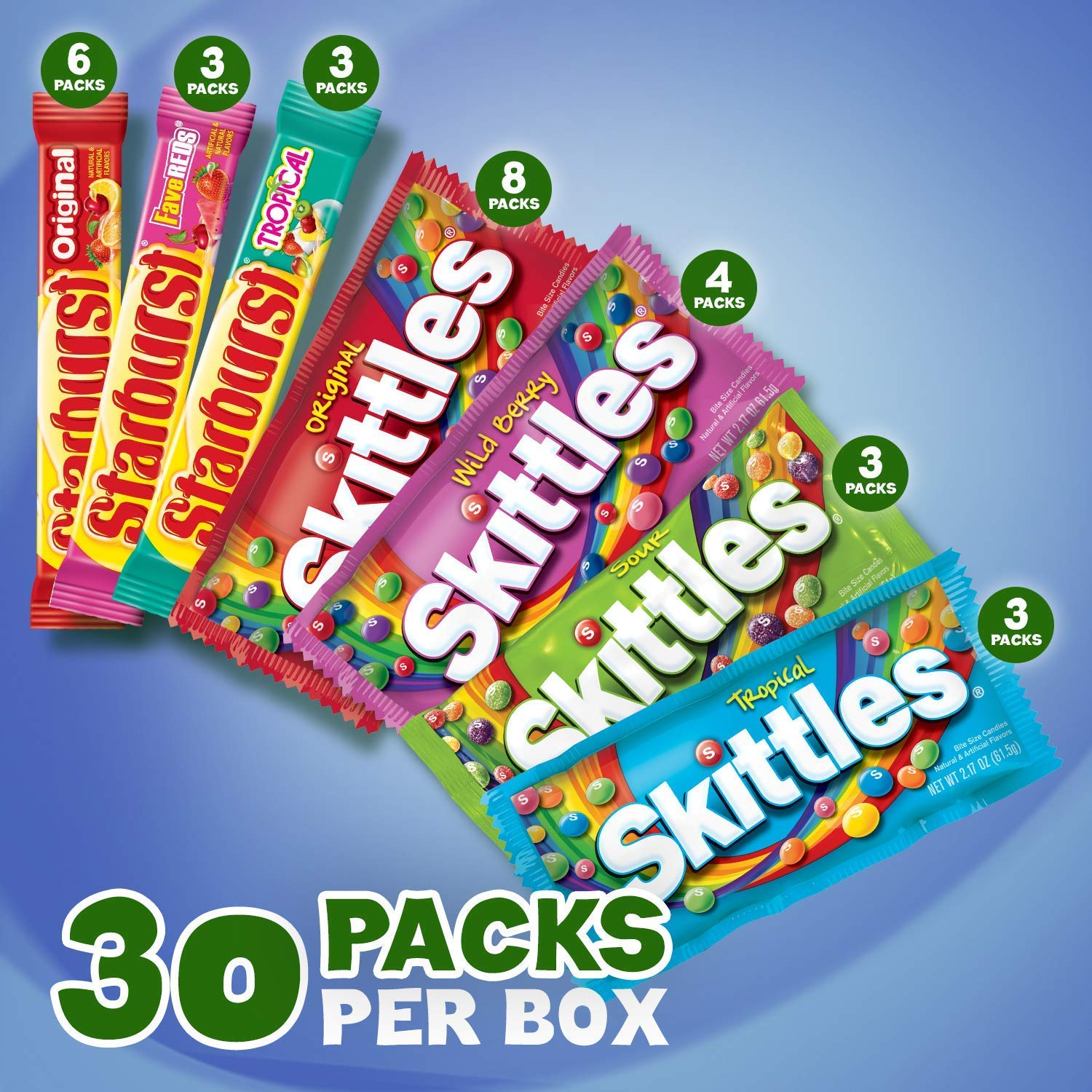 SKITTLES & STARBURST Full Size Candy Variety Mix 55-Count Box (55 Count Box)