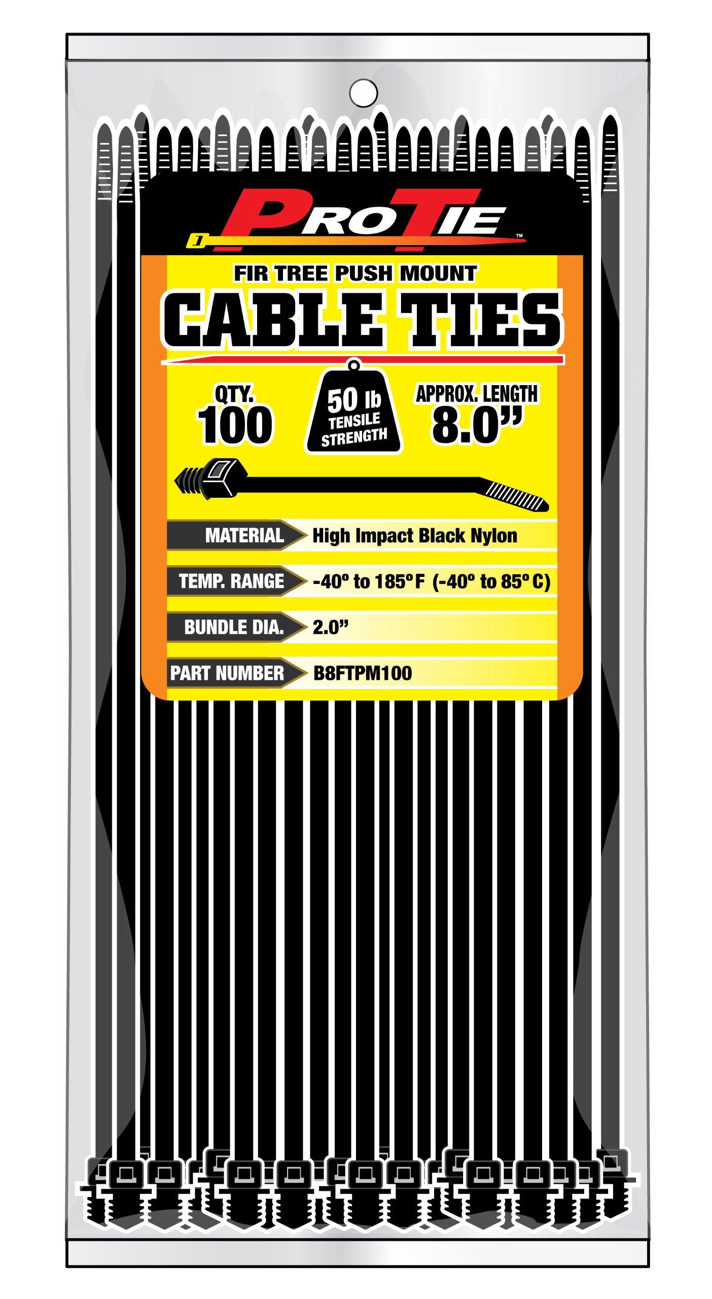 Pro Tie B8FTPM100 8-Inch Fir Tree Push Mount Cable Tie, UV Black Nylon, 100-Pack