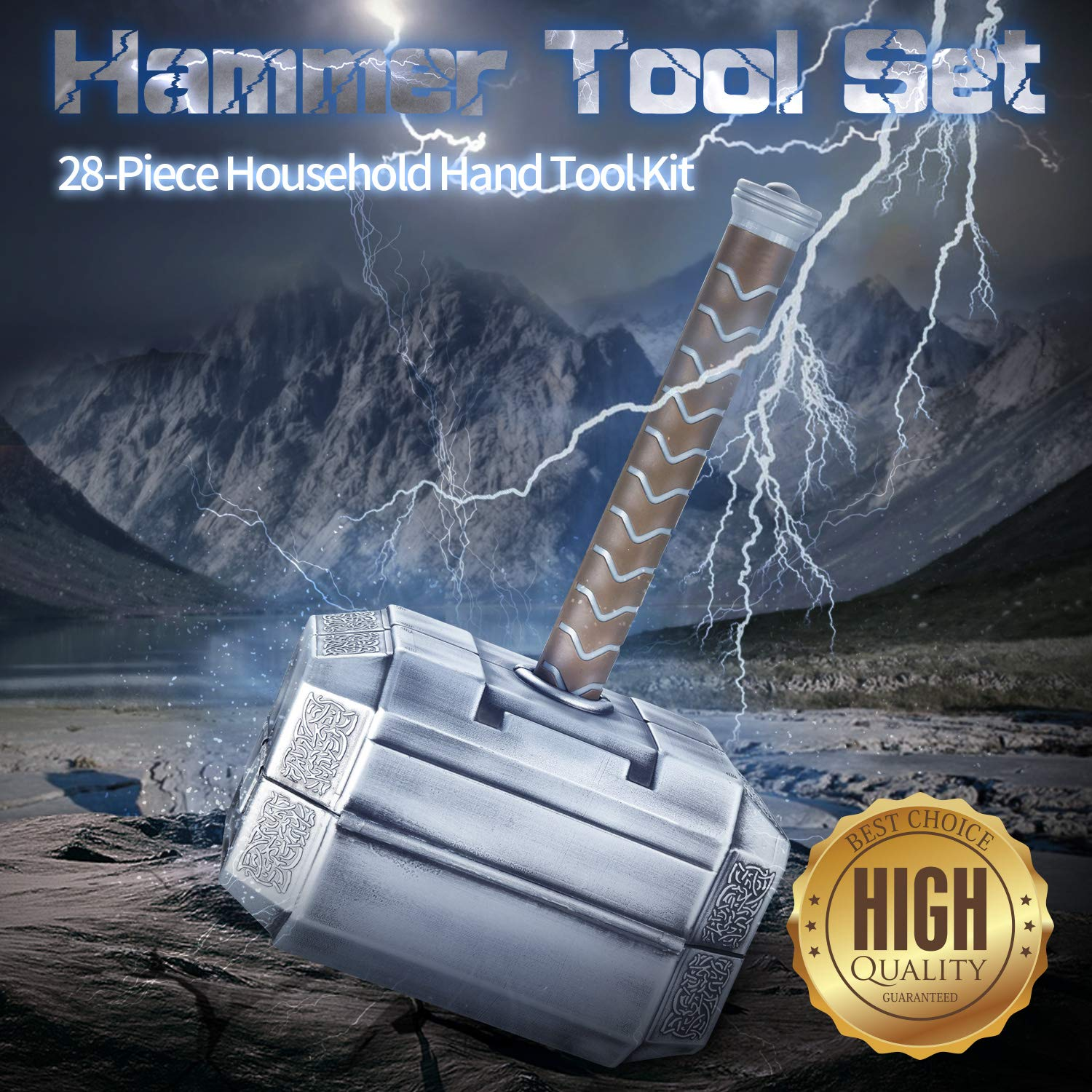 Buyton Avengers Thor Hammer Tool Set,28-Piece Household Hand Tool Kit -Thor Battle Hammer,Durable, Long Lasting Chrome Finish Tools with Thor Hammer case by buyton (Image #4)