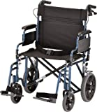 "NOVA Medical Products 22"" Heavy Duty Transport Wheelchair, Blue"