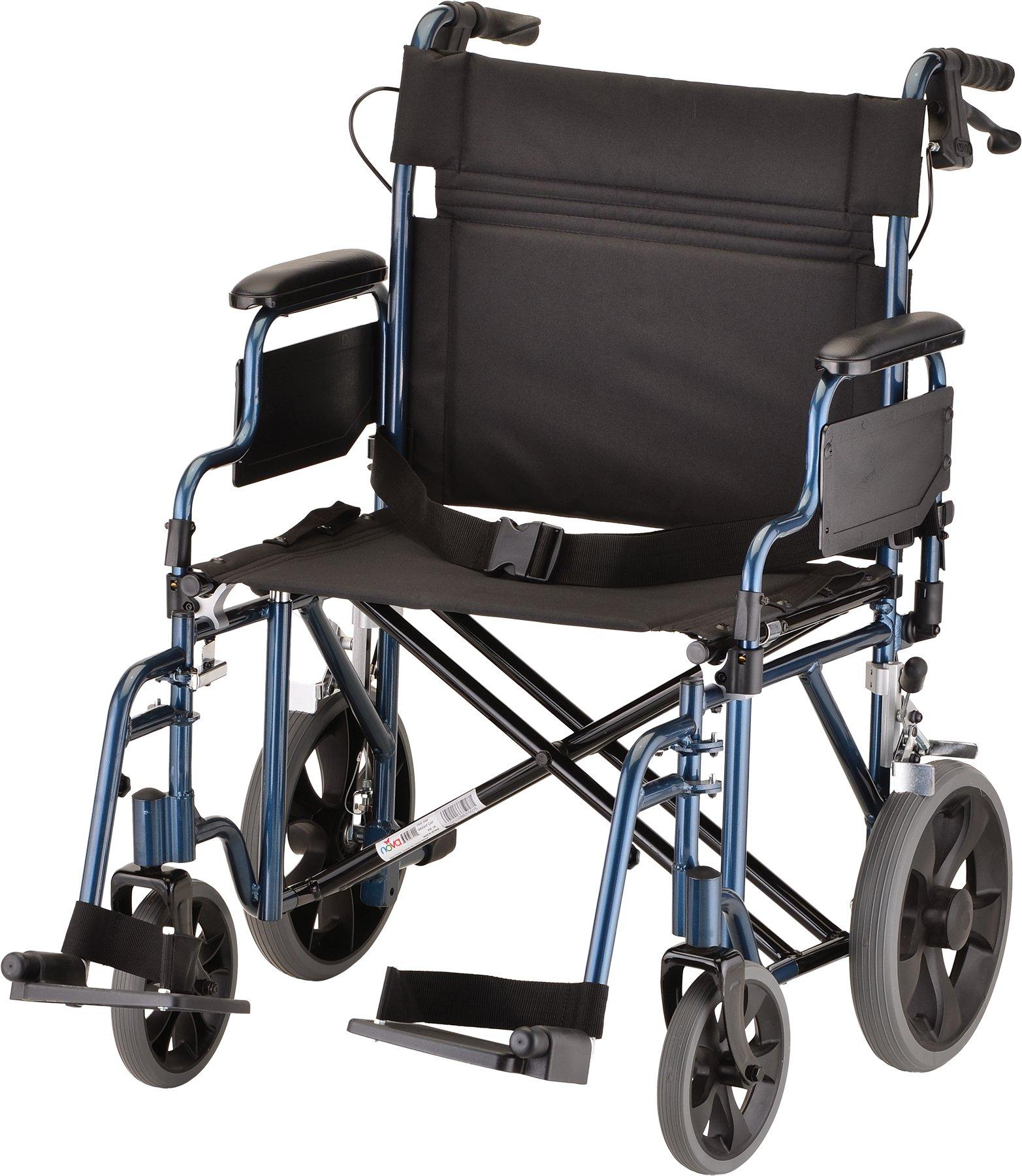 NOVA Medical Products 22'' Heavy Duty Transport Wheelchair, Blue