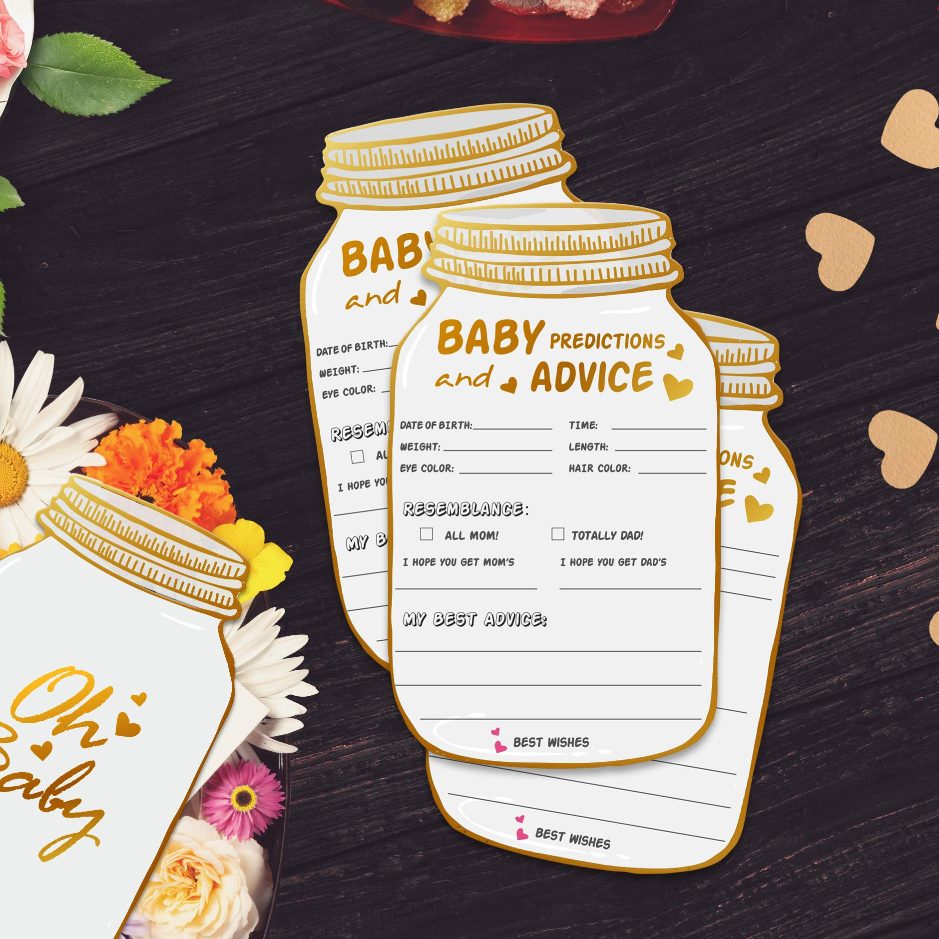 50 Mason Jar Advice and Prediction Cards for Baby Shower Game, Baby Shower Prediction and Advice Cards,Gender Neutral Boy or Girl,Fun Baby Shower Games Favors,New Parent Message Advice Book - 4x7inch by yuzi-n (Image #5)