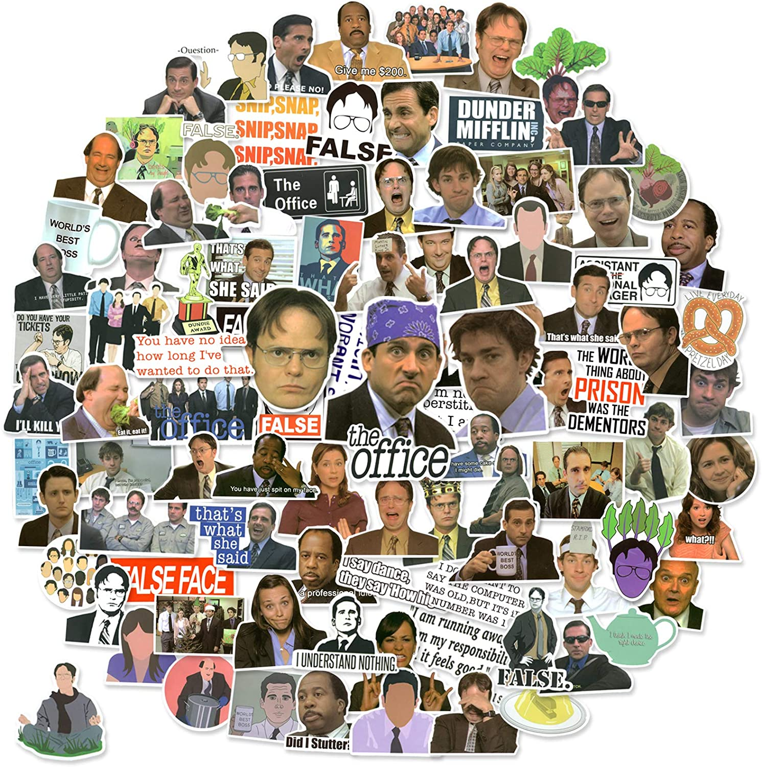 The Office Stickers Pack of 100 Stickers , The Office TV Show Merchandise Stickers for Water Bottle,Laptops, Computers, Flasks, Notebook, Phone Case