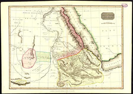Antique Map-ABYSSINIA-NUBIA-ETHIOPIA-SUDAN-EGYPT-GULF OF ADEN ...