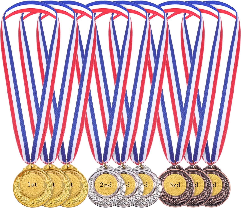 Medallas de Ganador de Metal en Estilo Olímpico de Color de Oro Plata Bronce para Juego y Fiesta (12)