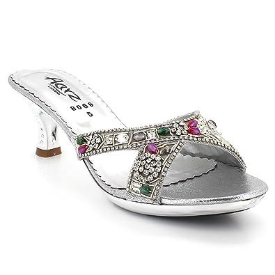 12a912ebe868ee AARZ LONDON Womens Ladies Crystal Open Toe Evening Wedding Party Bridal  Comfort Diamante Low Kitten Heel