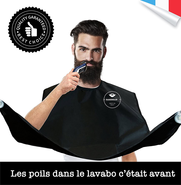 BARBMAN : Le babero para afeitarse sin dejar pelos en el lavabo, regalo Ideal para Hipster Barbudo !