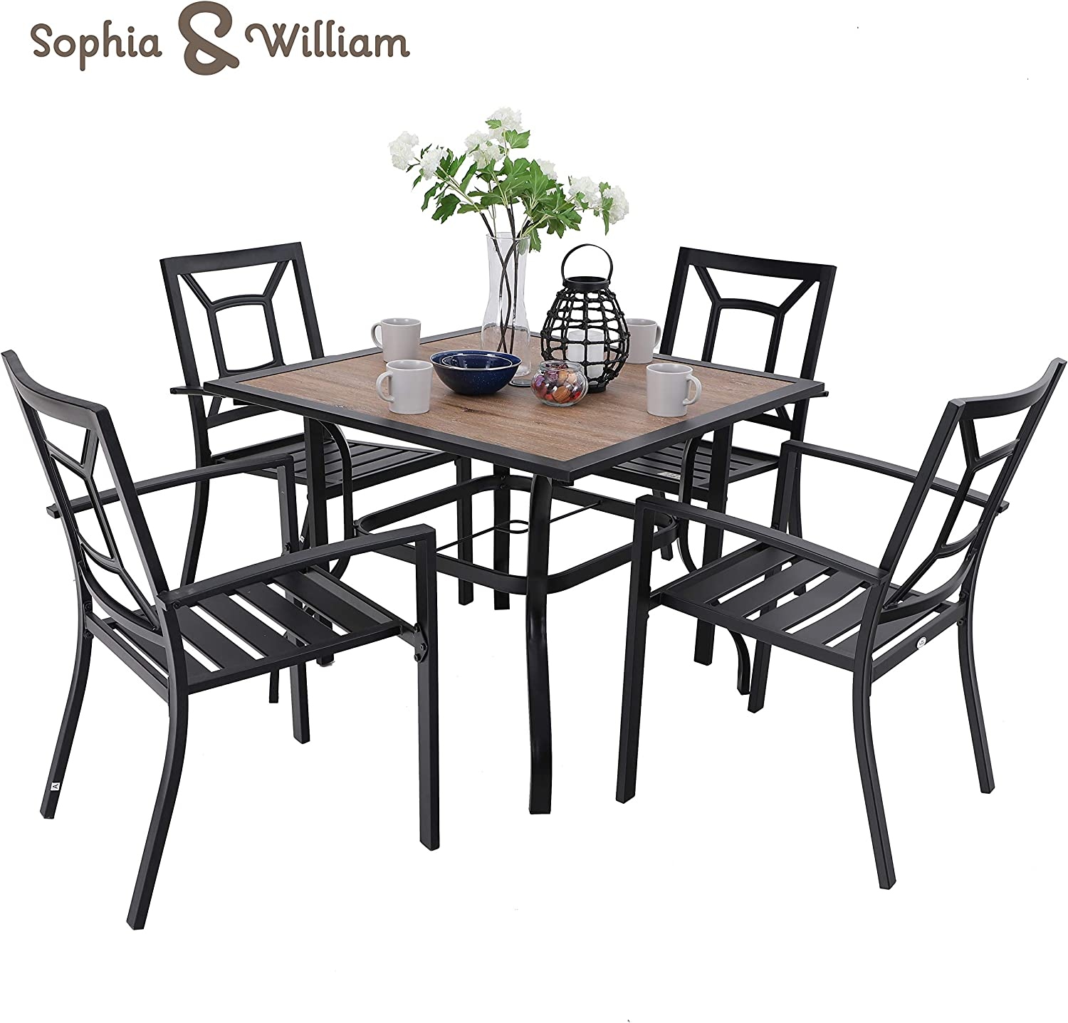 """Sophia /& William 5 Piece Outdoor Patio Dining Set Metal Table and Chairs Set with 37/"""" Wood-Like Table Top and Umbrella Hole"""