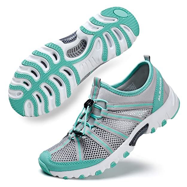 ALEADER Water Hiking Shoes for Women, Outdoor, Camp, Kayaking, Wet/River Walking Sneakers Lt Gray/Aqua 9 B(M) US best women's hiking shoes
