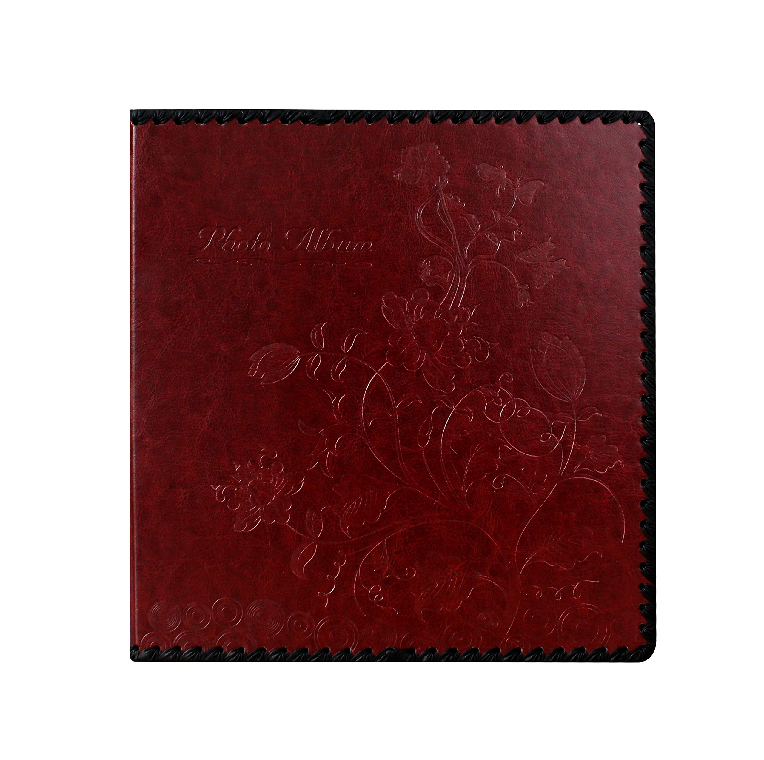 Beautyus Photo Album Book, Family Album, Leather Cover, Holds 3x5, 4x6, 5x7, 6x8, 8x10 Photos (Wine Red, M)