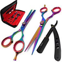 Brance BSS-02 Professional/Salon/Home/Pet | Hairdresser Shears Set Includes Thinning//Texturizing Scissors + Straight…