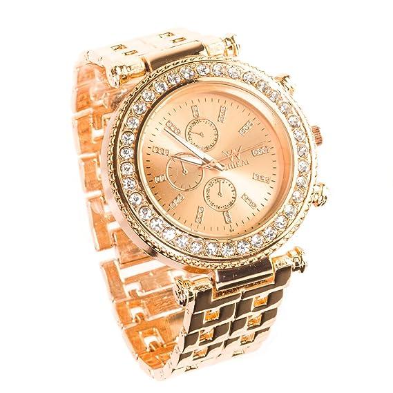 Shikai® Womens Cuarzo analógico Inoxidable Stee lwrist Reloj Oro Rosa Banda Funda elección