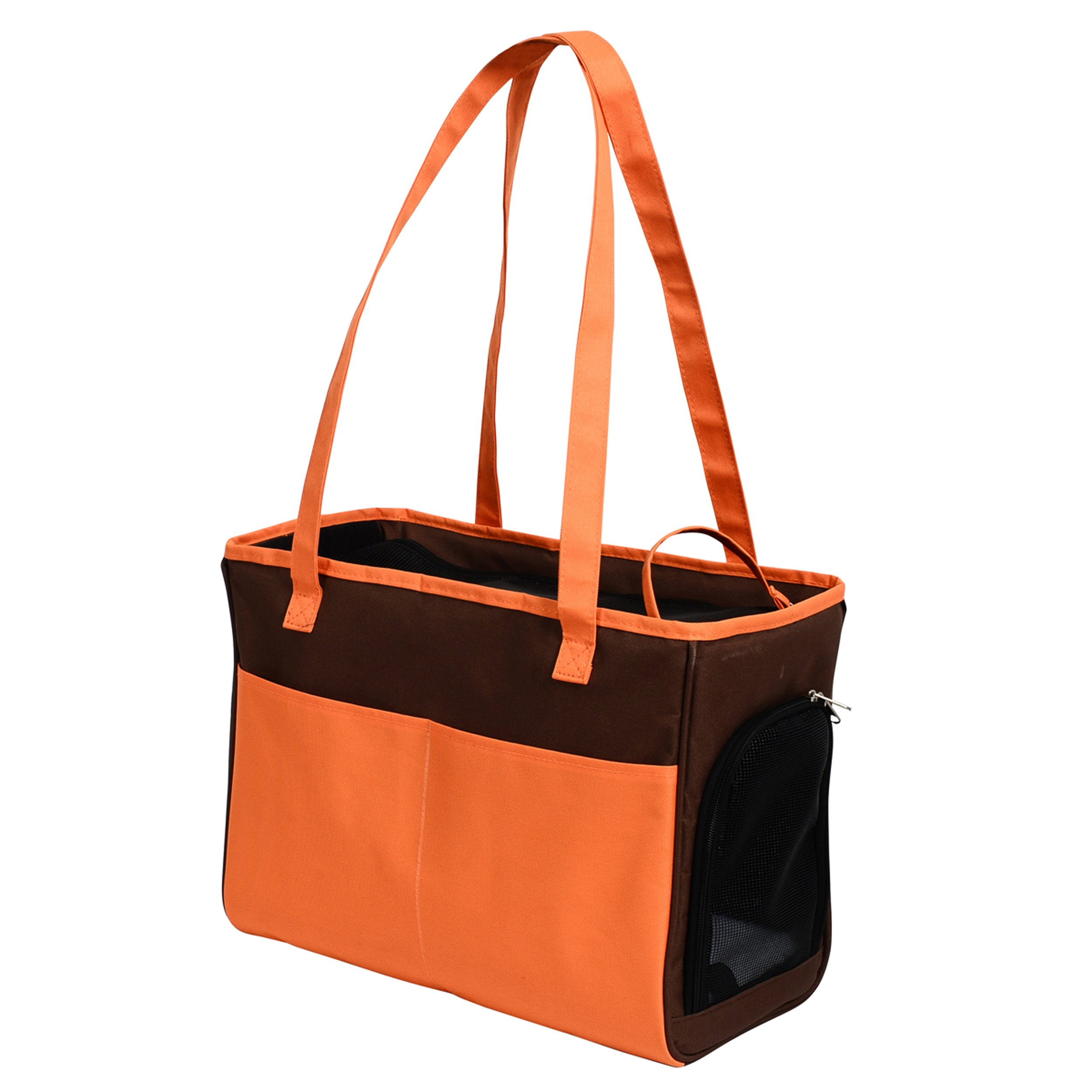 Iconic Pet Furrygo Shoulder Carrier/Bag, Coffee/Orange